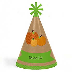 Pumpkin Patch - Personalized Fall & Thanksgiving Cone Birthday Party Hats for Kids and Adults - Set of 8 (Standard Size)