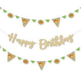 Pumpkin Patch - Fall Birthday Party Letter Banner Decoration - 36 Banner Cutouts and No-Mess Real Gold Glitter Happy Birthday Banner Letters