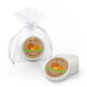 Pumpkin Patch - Personalized Fall & Thanksgiving Birthday Party Lip Balm Favors - Set of 12