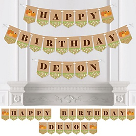 Pumpkin Patch - Personalized Fall & Thanksgiving Birthday Party Bunting Banner & Decorations