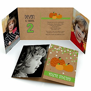 Pumpkin Patch - Personalized Fall & Halloween Birthday Party Photo Invitations - Set of 12