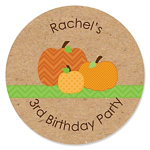 Pumpkin Patch - Personalized Fall & Thanksgiving Birthday Party Sticker Labels - 24 ct