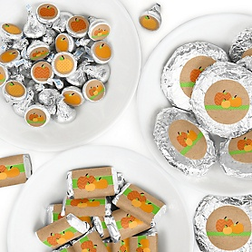 Pumpkin Patch - Mini Candy Bar Wrappers, Round Candy Stickers and Circle Stickers - Fall and Thanksgiving Party Candy Favor Sticker Kit - 304 Pieces