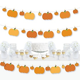 Pumpkin Patch - Fall and Thanksgiving Party DIY Decorations - Clothespin Garland Banner - 44 Pieces