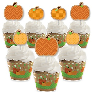 Pumpkin Patch - Cupcake Decoration - Fall and Thanksgiving Party Cupcake Wrappers and Treat Picks Kit - Set of 24