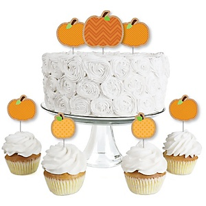Pumpkin Patch - Dessert Cupcake Toppers - Fall & Thanksgiving Party Clear Treat Picks - Set of 24