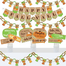Pumpkin Patch - Banner and Photo Booth Decorations - Fall and Thanksgiving Party Supplies Kit - Doterrific Bundle