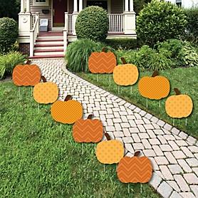 Pumpkin Patch - Pumpkin Lawn Decorations - Outdoor Fall or Thanksgiving Yard Decorations - 10 Piece