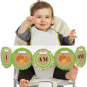 Pumpkin Patch 1st Birthday - I am One - First Birthday High Chair Banner
