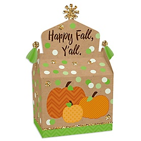 Pumpkin Patch - Treat Box Party Favors - Fall and Thanksgiving Party Goodie Gable Boxes - Set of 12