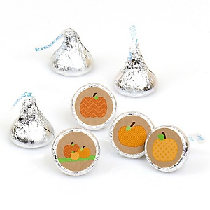 Pumpkin Patch - Round Candy Labels Fall & Thanksgiving Party Favors - Fits Hershey's Kisses - 108 ct