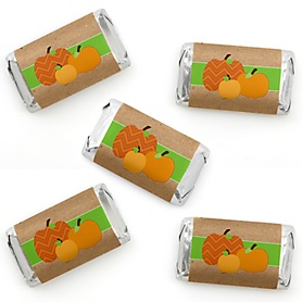 Pumpkin Patch - Mini Candy Bar Wrapper Stickers - Fall and Thanksgiving Party Small Favors - 40 Count