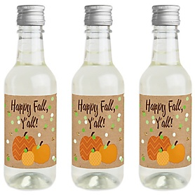 Pumpkin Patch - Mini Wine and Champagne Bottle Label Stickers - Fall & Thanksgiving Party Favor Gift - For Women and Men - Set of 16