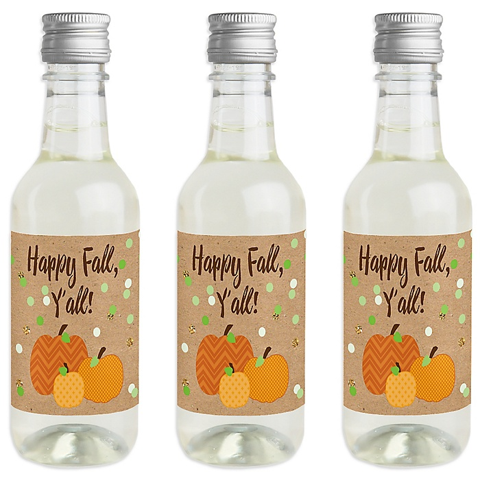 Pumpkin Patch - Mini Wine and Champagne Bottle Label Stickers - Fall & Halloween Party Favor Gift - For Women and Men - Set of 16