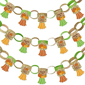 Pumpkin Patch - 90 Chain Links and 30 Paper Tassels Decoration Kit - Fall and Thanksgiving Party Paper Chains Garland - 21 feet