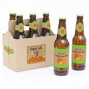 Pumpkin Patch - Decorations for Women and Men - 6 Fall & Thanksgiving Party Beer Bottle Label Stickers and 1 Carrier