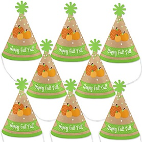 Pumpkin Patch - Mini Cone Fall & Thanksgiving Party Hats - Small Little Party Hats - Set of 8