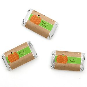 Pumpkin Patch - Personalized Fall & Thanksgiving Party Mini Candy Bar Wrapper Favors - 20 ct