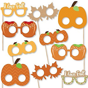 Pumpkin Patch Glasses and Masks - Paper Card Stock Fall & Thanksgiving Party Photo Booth Props Kit - 10 Count