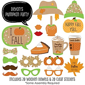 Pumpkin Patch - 20 Piece Fall & Thanksgiving Party Photo Booth Props Kit