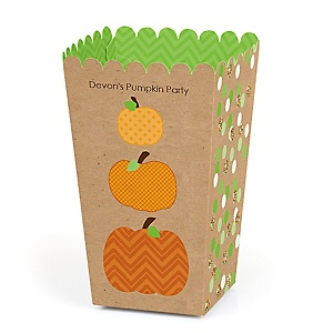 Pumpkin Patch - Personalized Fall & Halloween Party Popcorn Favor Treat Boxes - Set of 12