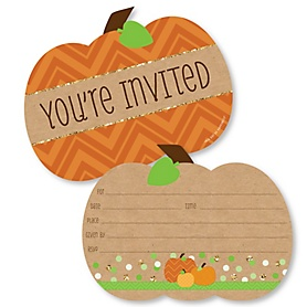 Pumpkin Patch - Shaped Fill-In Invitations - Fall & Thanksgiving Party Invitation Cards with Envelopes - Set of 12