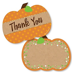 Pumpkin Patch - Shaped Thank You Cards - Fall and Thanksgiving Party Thank You Note Cards with Envelopes - Set of 12