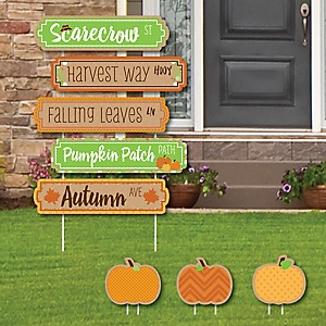 Pumpkin Patch Street Sign Cutouts - Fall & Halloween Party Yard Signs & Decorations - Set of 8