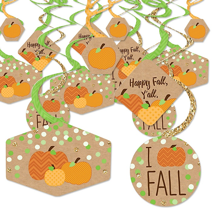 Pumpkin Patch - Fall and Halloween Party Hanging Decor - Party Decoration Swirls - Set of 40