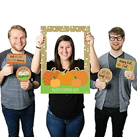 Pumpkin Patch - Personalized Fall & Thanksgiving Party Selfie Photo Booth Picture Frame & Props - Printed on Sturdy Material