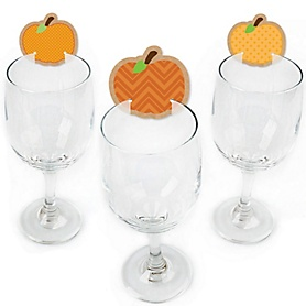 Pumpkin Patch - Shaped Fall & Thanksgiving Party Wine Glass Markers - Set of 24