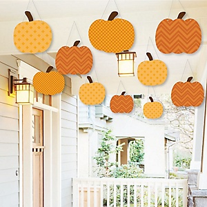 Hanging Pumpkin Patch - Outdoor Fall & Thanksgiving Party Hanging Porch & Tree Yard Decorations - 10 Pieces