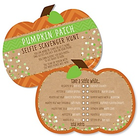Pumpkin Patch - Selfie Scavenger Hunt - Fall & Thanksgiving Party Game - Set of 12