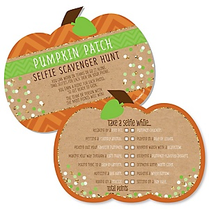 Pumpkin Patch - Selfie Scavenger Hunt - Fall & Thanksgiving Party Game - Set of 12