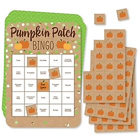 Pumpkin Patch - Bingo Cards and Markers - Fall and Thanksgiving Party Bingo Game - Set of 18