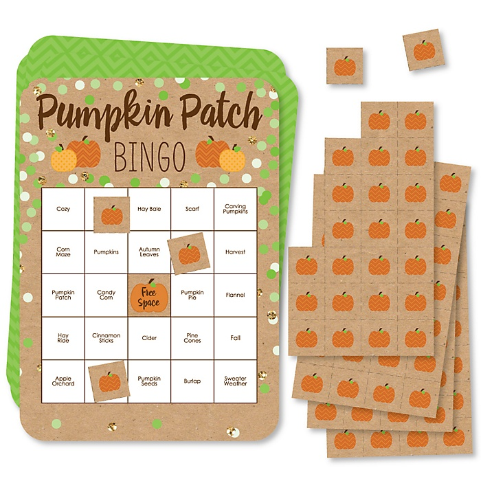 Pumpkin Patch - Bingo Cards and Markers - Fall and Halloween Party Bingo Game - Set of 18