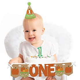 Pumpkin Patch 1st Birthday - First Birthday Girl or Boy Smash Cake Decorating Kit - Fall High Chair Decorations