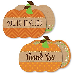 Pumpkin Patch - 20 Shaped Fill-In Invitations and 20 Shaped Thank You Cards Kit - Fall and Thanksgiving Party Stationery Kit - 40 Pack