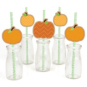Pumpkin Patch - Paper Straw Decor - Fall & Thanksgiving Party Striped Decorative Straws - Set of 24