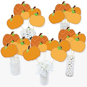 Pumpkin Patch - Fall & Thanksgiving Party Centerpiece Sticks - Table Toppers - Set of 15