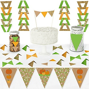 Pumpkin Patch - DIY Pennant Banner Decorations - Fall and Thanksgiving Party Triangle Kit - 99 Pieces