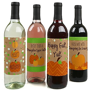Pumpkin Patch - Fall & Thanksgiving Party Decorations for Women and Men - Wine Bottle Label Stickers - Set of 4