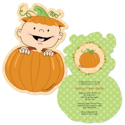 Little Pumpkin Caucasian   Shaped Baby Shower Invitations