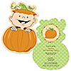Little Pumpkin Caucasian - Shaped Birthday Party Invitations