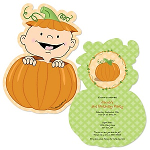 Little Pumpkin - Shaped Birthday Party Invitations - Set of 12