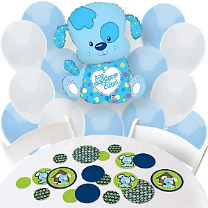 Boy Puppy Dog - Confetti and Balloon Party Decorations - Combo Kit