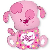 Puppy Girl - Baby Shower Mylar Balloon