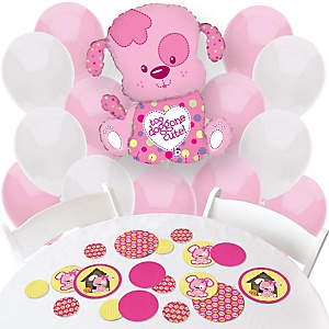 Girl Puppy Dog - Confetti and Balloon Party Decorations - Combo Kit
