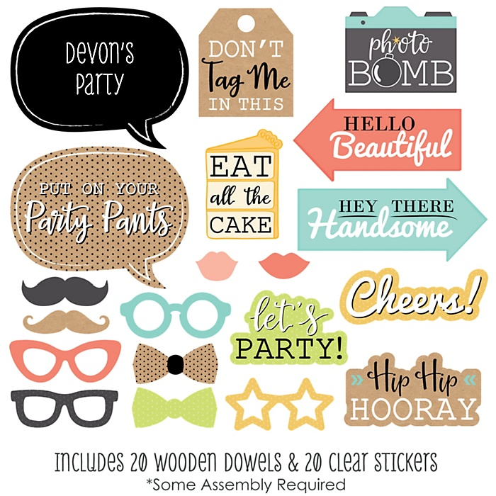 Put On Your Party Pants - 20 Piece Photo Booth Props Kit