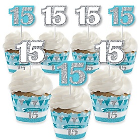 Quinceanera Teal - Sweet 15 - Cupcake Decoration - Birthday Party Cupcake Wrappers and Treat Picks Kit - Set of 24